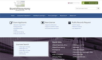 Screen shot of the Board of Accountancy website