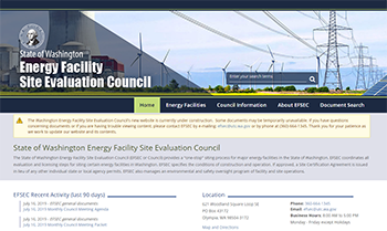 Screen shot of the EFSEC website