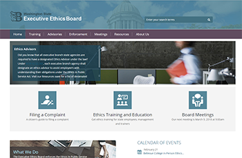 Screen shot of the Executive Ethics Board website