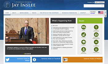 Screen shot of Governor Inslee's website