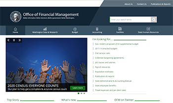 Screen shot of the Office of Financial Management website