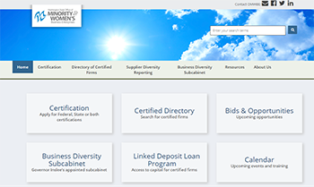 Screen shot of the Office of Minority and Women's Business Enterprises website