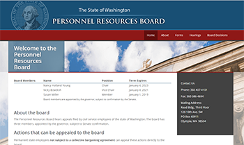 Screen shot of the Personnel Resources Board website