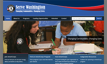 Screen shot of the Serve Washington website