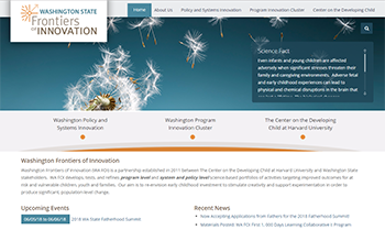 Screen shot of the Frontiers of Innovation website