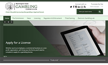 Screen shot of the Gambling Commission website